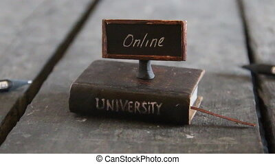 online degrees idea - Book - computer and inscription...