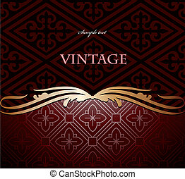 Red and gold floral background. Vector