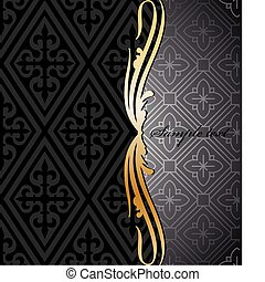 Black and gold floral background. Vector