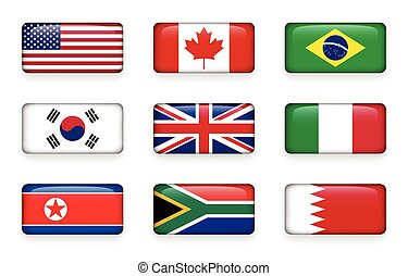 Set of world flags round rectangle buttons ( USA . Canada . Brazil . South korea . United kingdom of great britain . Italy . North korea . South africa . Bahrain )