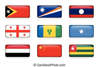 Set of world flags rectangle buttons ( East Timor . Marshall...