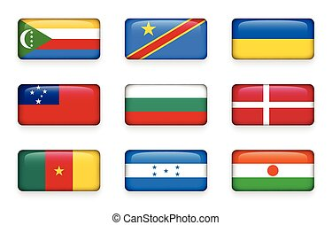 Set of world flags rectangle buttons ( Comoros . Democratic...
