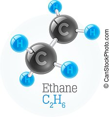 Physical chemical molecule model of gas ethane. Assembly...