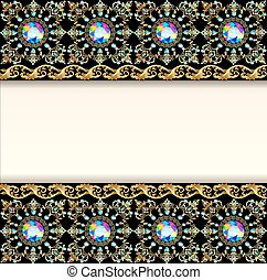 illustration background with precious stones and decorated band for posts