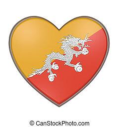 Bhutan heart - 3d rendering of a Bhutan flag on a heart....