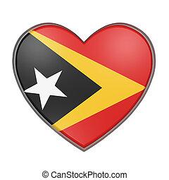 Timor-Leste heart - 3d rendering of a Timor-Leste flag on a...