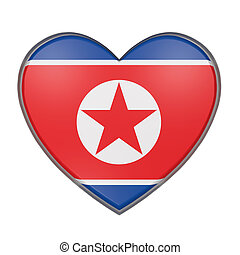 North Korea heart - 3d rendering of a North Korea flag on a...
