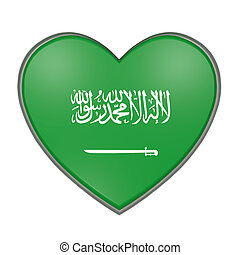 Saudi Arabia heart - 3d rendering of a Saudi Arabia flag on...
