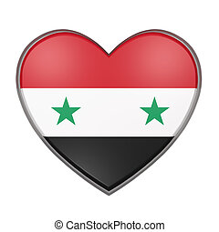 Syria heart - 3d rendering of a Syria flag on a heart. White...