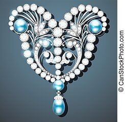 Illustration brooch with pearls and precious stones....