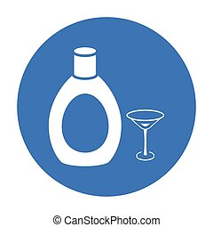 Chocolate liqueur icon in black style isolated on white...