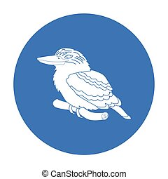 Kookaburra sitting on branch icon in black style isolated on...