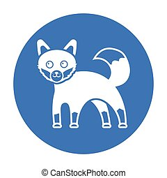 Fox icon black. Singe animal icon from the big animals...