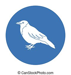 Crow icon in black style isolated on white background. Bird...