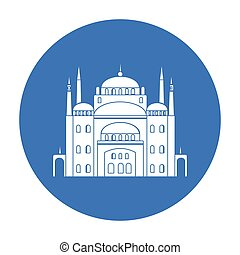 Cairo Citadel icon in black style isolated on white...