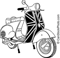 Vector illustration of vintage scooter. Emblems and label....