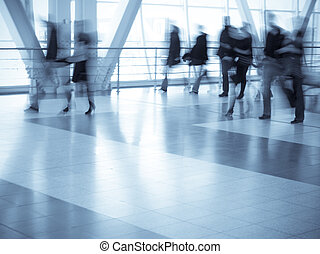 Shopping mall  - Shoppers walking, motion blur