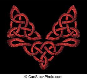 Red embroidery on a black background. Celtic patterns