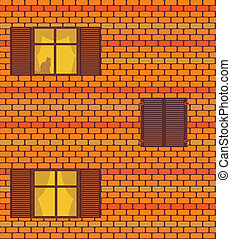 Seamless vector texture with brickwall and windows