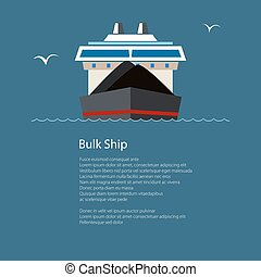 Dry Cargo Ship at Sea, Poster Brochure Design - Front View...
