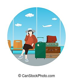 Icon Waiting Room with a Woman - Icon a Woman with a Luggage...