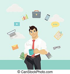 ector business man characters with cup of coffee or tea -...