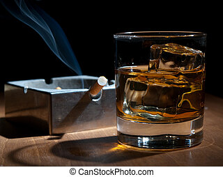 smoking and drinking - whisky and cigarettes, unhealthy...