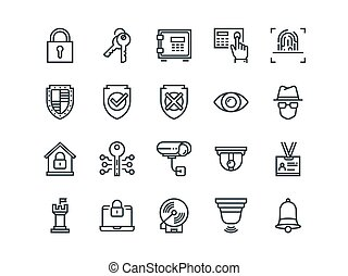 Security. Set of outline vector icons. Includes such as FingerPrint, Electronic key, Spy, Password, Alarm and more.