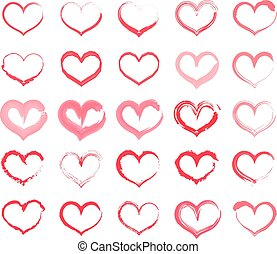 Grunge heart set. Collection of hand drawing hearts with different tools like brushes, chalk, ink, watercolor. Vector illustration.