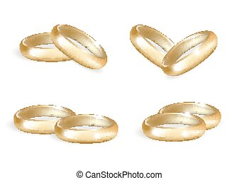 Realistic wedding gold rings set. 3d  bands collection isolated on white background. Vector illustration.