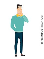 Caucasian businessman thinking vector illustration - Young...