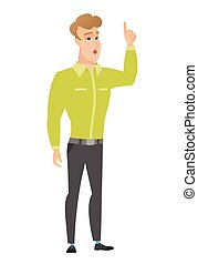 Businessman with open mouth pointing finger up. - Caucasian...
