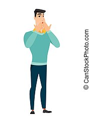 Shoked caucasian businessman covering his mouth. - Shoked...
