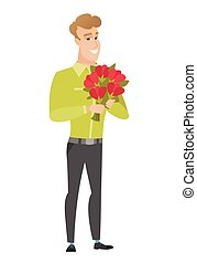 Caucasian businessman holding a bouquet of flowers -...