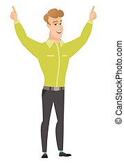 Businessman standing with raised arms up. - Successful...