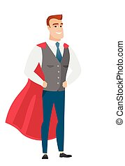 Businessman wearing a red superhero cloak. - Businesman...