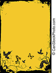 Grunge yellow floral frame with butterflias