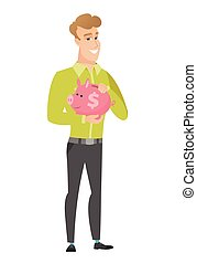 Caucasian business man holding a piggy bank. - Widely...