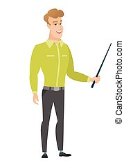 Caucasian business man holding pointer stick. - Caucasian...