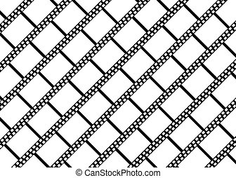 Empty diagonal filmstrips vector background
