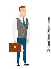 Caucasian business man holding briefcase. Full length of...