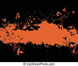 Grunge orange frame with floral elements