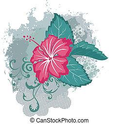 Grunge vector hibiscus flower
