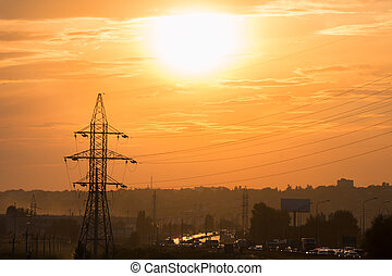 Cityline sunset view - Urban landscape with sunset and...