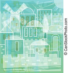 Jerusalem In White - Stylized Jerusalem in white and blue...