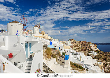 Windwill of Oia Santorini, Greece, copyspace