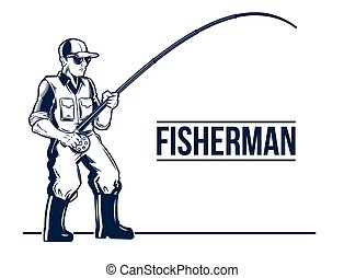 Fishing label emblem with rod and fisherman.
