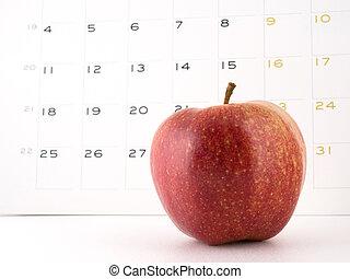 un, manzana, día