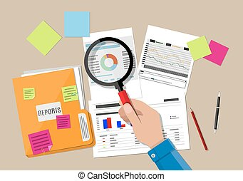 financial report concept. Business background. - Hand with...