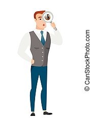 Caucasian businessman with magnifying glass. - Shoked...